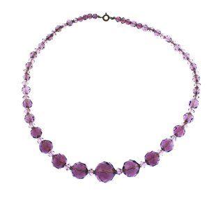 Long Faceted Purple Czech Glass Bead Necklace